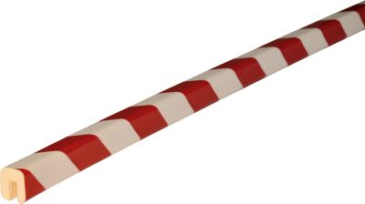 Randbeschermingsprofiel type G, in stukken van 1 meter, wit/rood