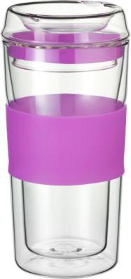 Rastal Thermobecher ToGo, aus doppelwandigem Glas, mit Deckel, Inhalt 0,36, jaipur