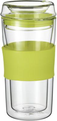Rastal Thermobecher ToGo, aus doppelwandigem Glas, mit Deckel, Inhalt 0,36, lime