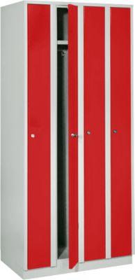 Raumspargarderobe, Abteilbreite 200 mm, abschließbar, 4 Abteile, rot