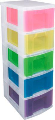 Really Useful Box Boxenturm, 5x12 Rainbow, mit Rollen