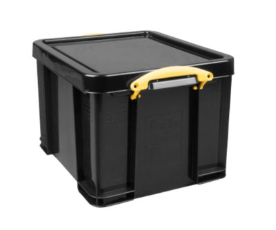 Really Useful Boxes opbergbox, 64 liter, zwart, gele handgrepen