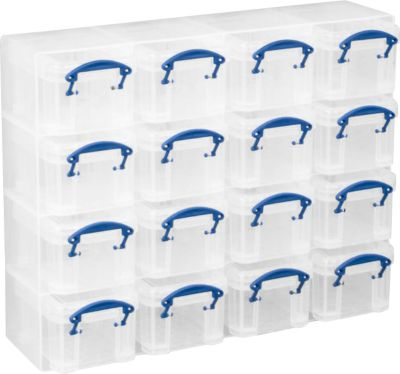 Really Useful Boxes Organizer Pack, 16 x 0,14 Liter Boxen, transparent, aus PP