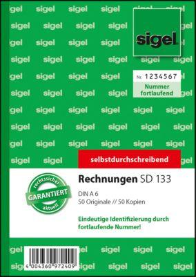 Rechnungsbuch Sigel SD133, fortlaufend, selbstdurchschreibend, DIN A6 hoch, 2 x 50 Bl.