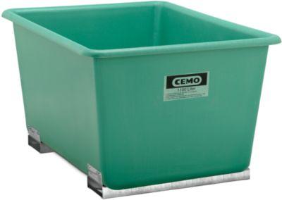 Rechteckbehälter Standard, GFK, mit Staplertaschen, grün, 1100 l