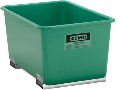 Rechteckbehälter Standard, GFK, mit Staplertaschen, grün, 400 l