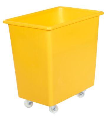 Rechthoekige bak, kunststof, verrijdbaar, 135 l, geel