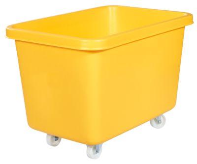 Rechthoekige bak, kunststof, verrijdbaar, 227 liter, geel