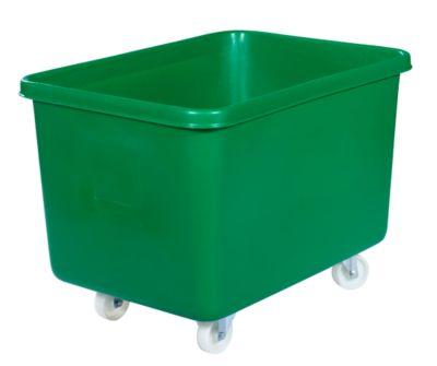 Rechthoekige bak, kunststof, verrijdbaar, 340 l, groen