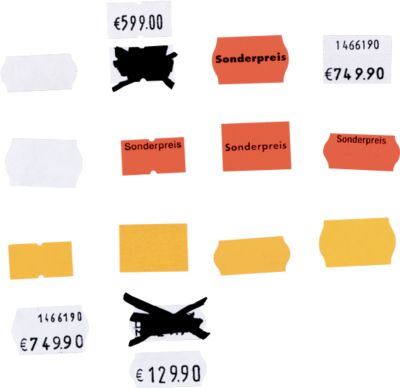 Etiketten voor etiketteertangen, wit (afneembaar), 10 rollen