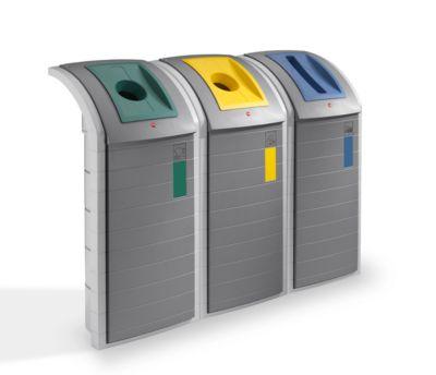 Recycleerbare collector Hailo ProfiLine WSB Design Plus XXXL, ABS, grijs, 120 l, met 3 gekleurde inzetstukken.
