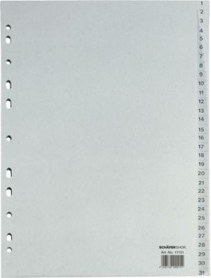 Recycling-Register DIN A4, Zahlen 1-31, einzeln