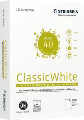 Recyclingpapier Steinbeis ClassicWhite, DIN A4, 80 g/m², presseweiß, 1 Karton = 10 x 500 Blatt
