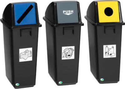 Recyclingverzamelaar, 58 liter, met klep, grijs