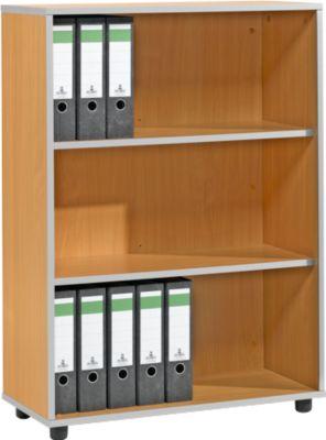 Regal MOXXO IQ, Holz, 3 Fächer, 3 OH, B 801 x T 362 x H 1115 mm, Buche-Dekor