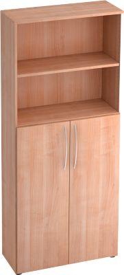 Regalschrank TARA, 5 Ordnerhöhen, 3 Fachböden, Türen oben/unten, B 800 x T 346 x H 1880 mm, Nussb.Dekor