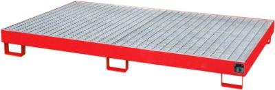 Regalwanne Typ RW/GR 2200-1, mit Gitterrost, rot RAL3000