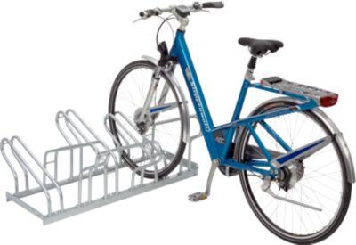 Reihen-Bügelparker, für Fahrräder, zweiseitig, fertig montiert, 6 Einstellplätze