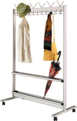 Reihen-Garderobenständer, Leichtmetall, 1160 mm breit, mit Schirmhalterung