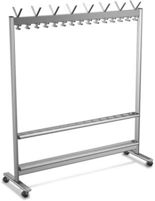 Reihen-Garderobenständer, Leichtmetall, 1560 mm breit, mit Schirmhalterung