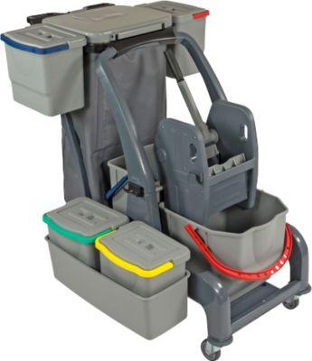 Reinigungswagen Sprintus CombiX PRO XL, 6 Eimer/67 l insg, Müllsackhalterung, Wanne, für Innen, grau