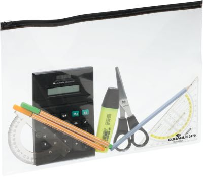 Reißverschlusstasche ZIP BAG, transparent mit schwarzem Zipper, A4, 5 St.