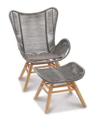 Relax Lounge Sessel Asmara, mit Fußhocker, B730xT1300xH1010 mm, Grandis/grau