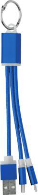 Rizo Schlüsselring mit Ladekabeln USB, Mikro USB und USB Typ C, blau
