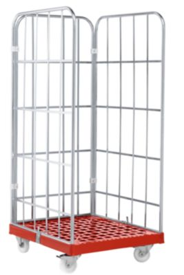 Rolbox, 3-zijdig, kunststof bodemplaat, 724 x 815 x 1640 mm, rood (RAL 3000)