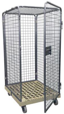Rolcontainer 5-zijdig met 1 deur, zonder legborden, 1800 mm hoog, grijs