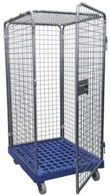Rolcontainer 5-zijdig met 1 deur, zonder legborden, 1800 mm hoog, lichtblauw
