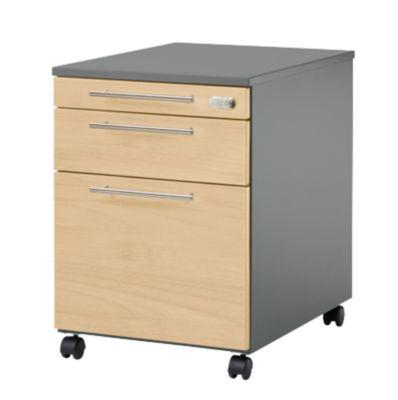 Rolcontainer Start UP 126, keukengerei, uittrekbare hangmappen, lade, afsluitbaar, B 432 x D 580 x H 595 mm, grafiet/kap, enz.