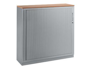 Roldeurenkast, 3x OH, b 1200 mm, beukendecor/wit-alu.