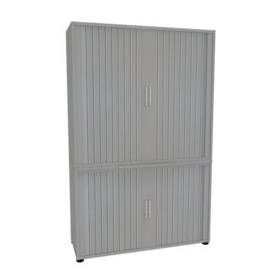 Roldeurkast, 2-delig, b 1200 mm, 5 OH, zilver