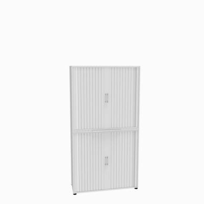 Roldeurkast, 2-delig, b 1200 mm, 6 OH, wit