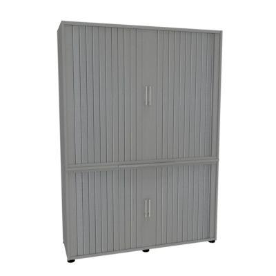 Roldeurkast, 2-delig, b 1350 mm, 5 OH, zilver