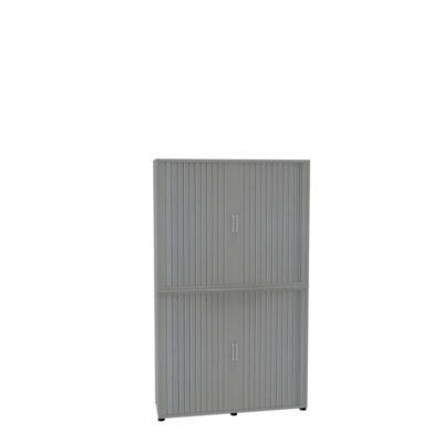 Roldeurkast, 2-delig, b 1350 mm, 6 OH, zilver