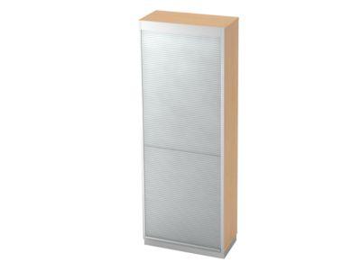 Roldeurkast 5x OH, b 800 x d 420 mm, ahorndecor/zilver