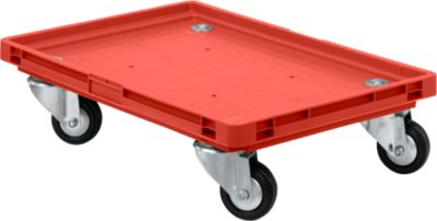 Roll-Fix, rubber wielen, rood, 600 x 400 x 125 mm