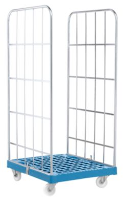 Rollbox, 2-seitig, Kunststoffbodenplatte, 724 x 815 x 1660 mm, blau (RAL 5012)