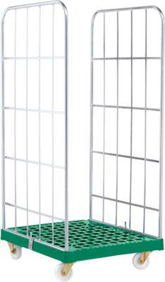 Rollbox, 2-seitig, Kunststoffbodenplatte, 724 x 815 x 1660 mm, grün (RAL 6024)