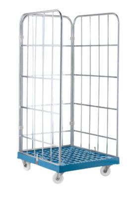 Rollbox, 3-seitig, Kunststoffbodenplatte, 724 x 815 x 1640 mm, blau (RAL 5012)