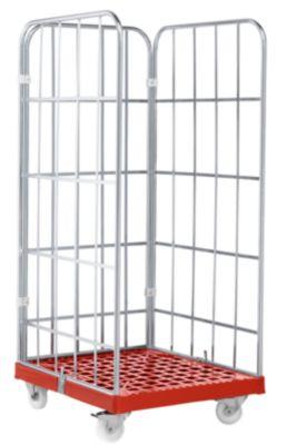 Rollbox, 3-seitig, Kunststoffbodenplatte, 724 x 815 x 1640 mm, rot (RAL 3000)