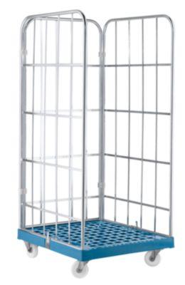 Rollbox, 3-seitig, Kunststoffbodenplatte, 724 x 815 x 1850 mm, blau (RAL 5012)