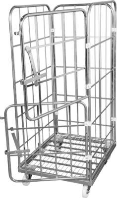 Rollbox, 4-seitig, Stahl-Bodenplatte, mit 2 halben Vorderwänden, H 1640 mm