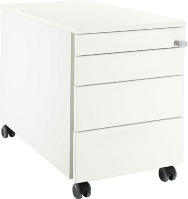Rollcontainer 1233, 4 Schübe, mit Griffnut, weiß/weiß