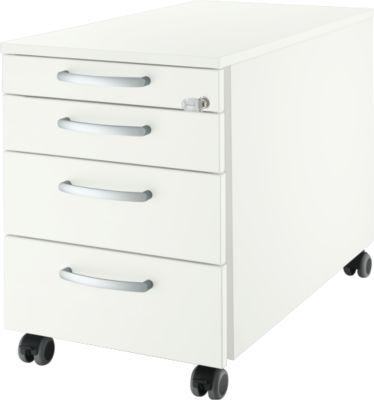 Rollcontainer 1233, Griff 1 rund, weiß/weiß