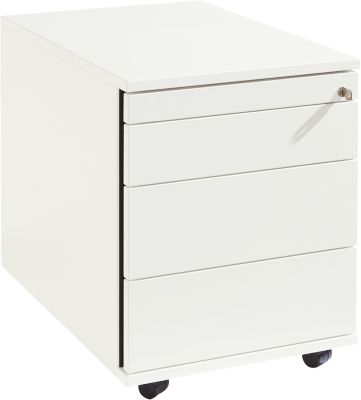 Rollcontainer 1233, Utensilienauszug + Schubladen, abschließbar, Spanplatte, B 428 x T 600 x H 540 mm, weiß