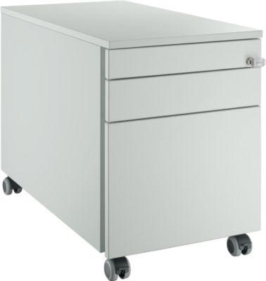 Rollcontainer 126, mit Griffnut, B 435 x H 577 mm, lichtgrau/lichtgrau/lichtgrau