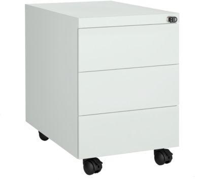 Rollcontainer, 3 Schübe, seitliche Griffnut, B 390 x T 590 x H 550 mm, Stahl lichtgrau, abschließbar
